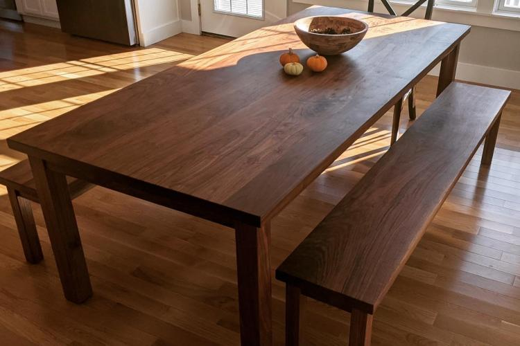 Classic Walnut Dining Table with Matching Benches