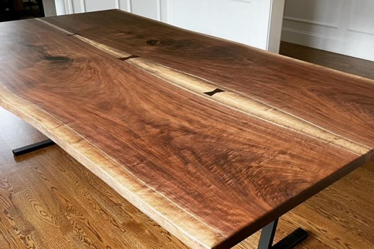 Tuxedo Table! Walnut Live Edge Bookmatch with Bowties in Needham