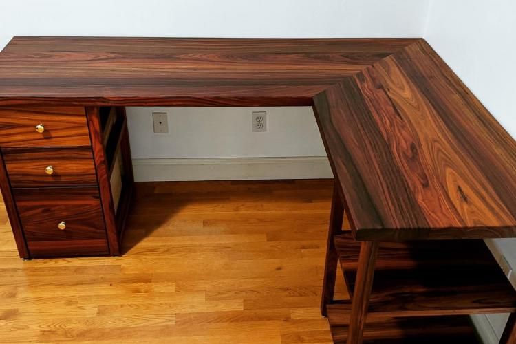 Morado/Bolivian Rosewood Desk with Cabinet and Shelves in Boston
