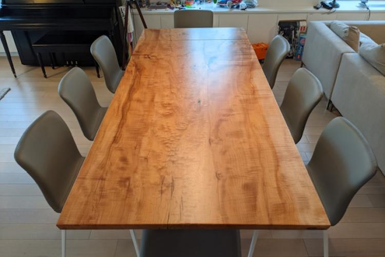Big Leaf Maple Table in NYC Penthouse Apartment