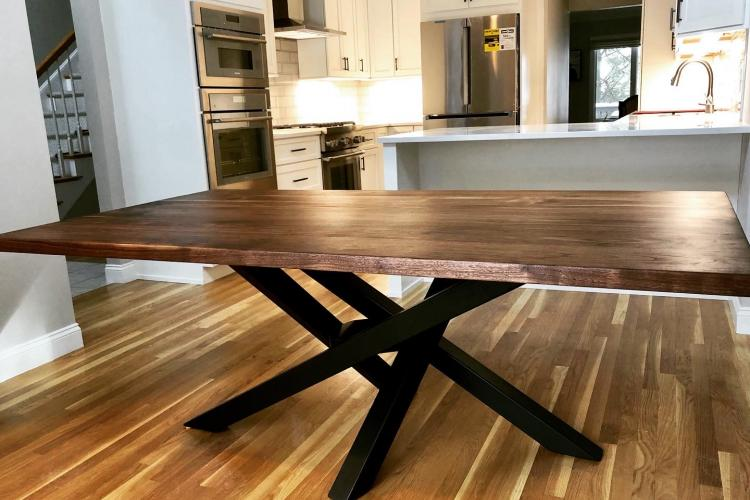 Wayland Walnut Table with Twisting Steel Pedestal Base