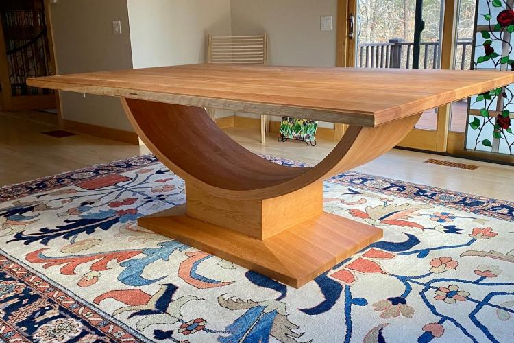 Glorious Bow Curved Cherry Pedestal Table on Cape Cod