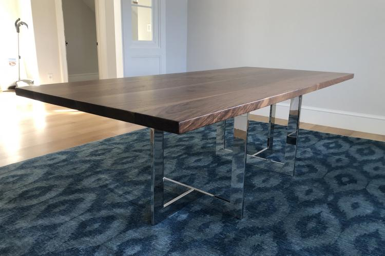 "Walnut Table in Newton with ""Trio Mirror Chrome"" Bases"