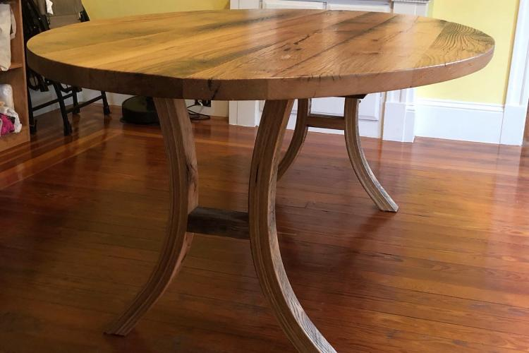 Reclaimed Oak Oval with Curved Bases in Somerville