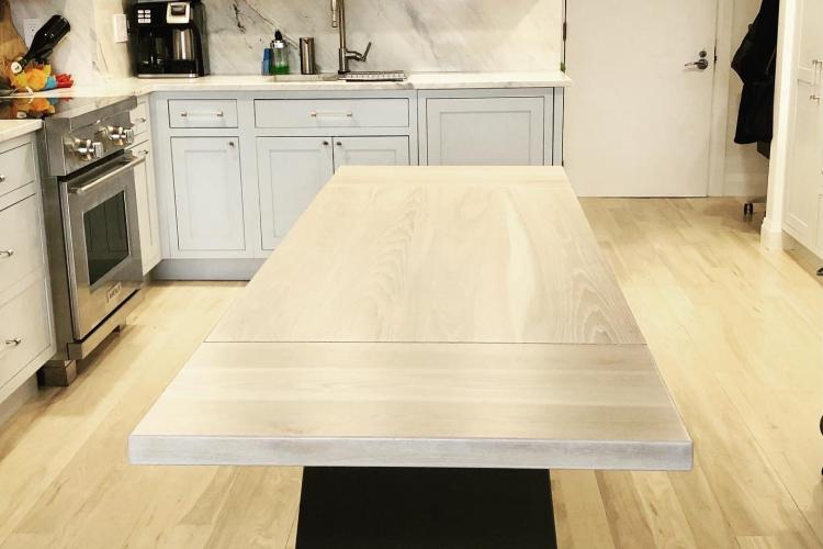 North End Whitewashed Ash Table with Stainless Steel Bases