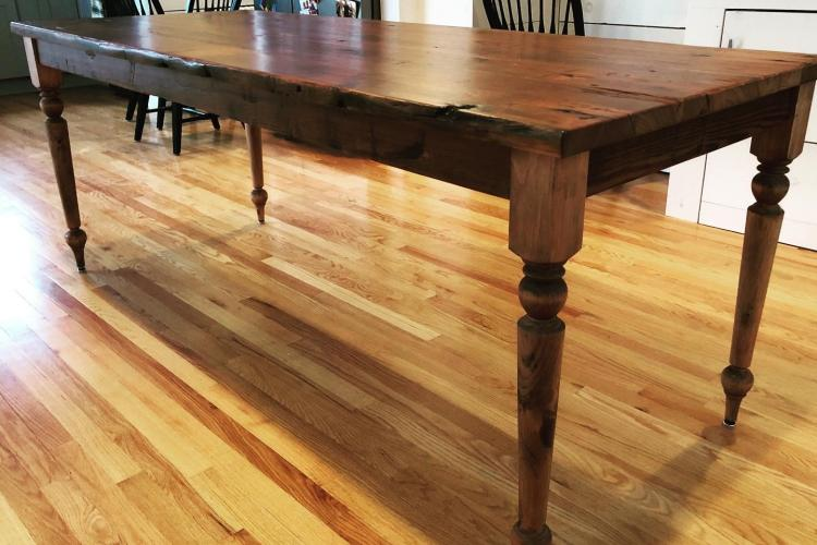 Reclaimed Heart Pine Table with Turned Legs in New Hampshire