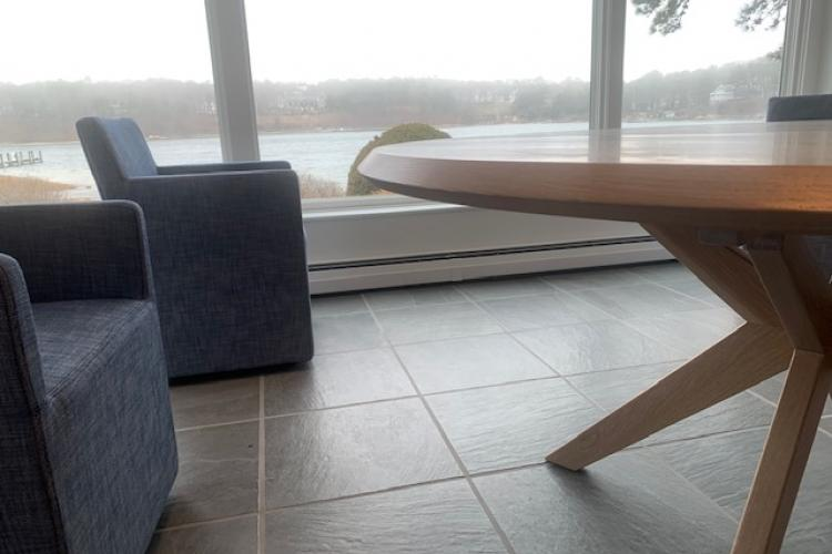Ocean Views for this Round Oak Kitchen Table in Osterville