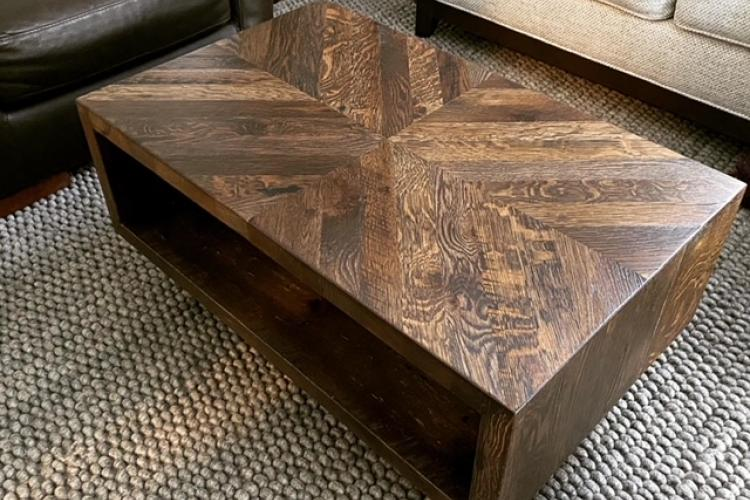 Herring Bone Pattern Reclaimed Oak Coffee Table with Custom Color Finish in Somerville