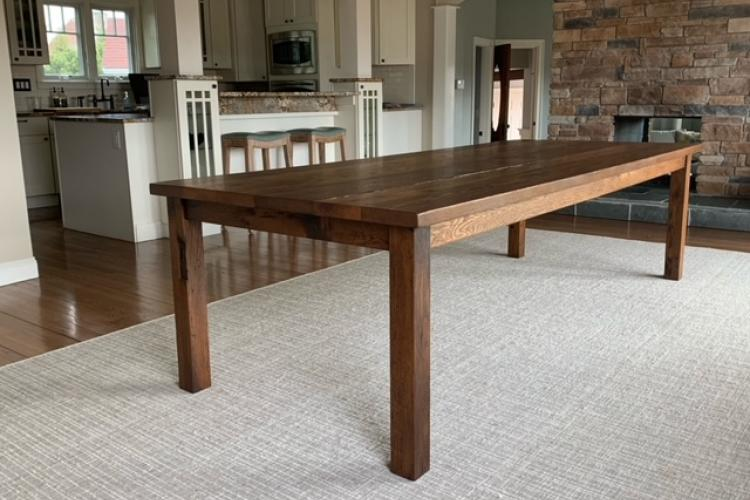 Dining Table with Square Corner Legs and Brown Tint in NH